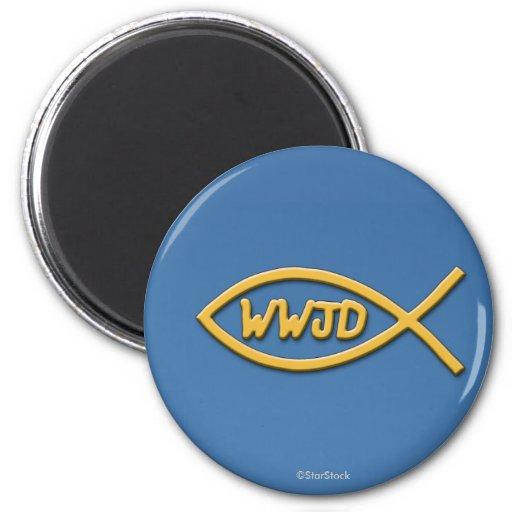 Imán del símbolo de los pescados de WWJD