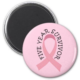 Imán del superviviente del cáncer de pecho de 5 añ