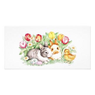 Imán del tiempo del conejito tarjetas personales con fotos