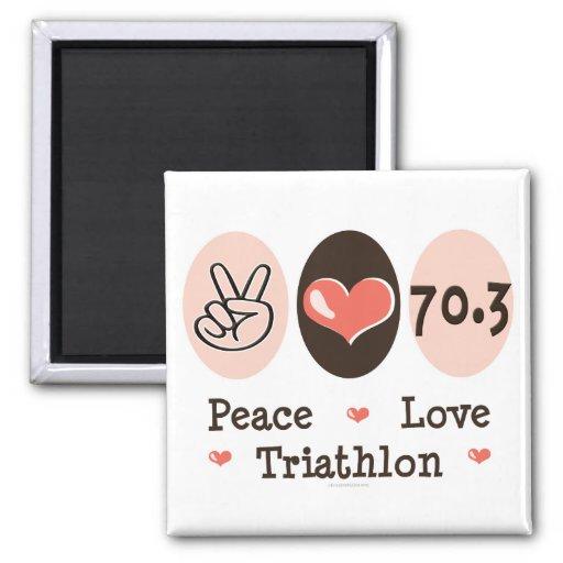Imán del Triathlon del amor de la paz