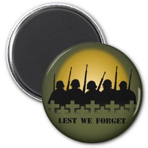 Imán del tributo del soldado a fin de olvidemos lo