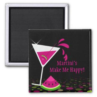 Imán divertido de la sandía del cóctel rosado de M