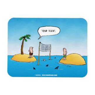 Imán divertido del dibujo animado del voleibol del