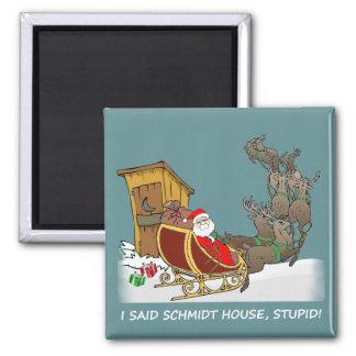 Imán divertido del navidad de la casa de Schmidt