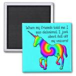 Imán divertido del refrigerador del unicornio delu