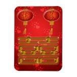 Imán doble chino del boda de la felicidad