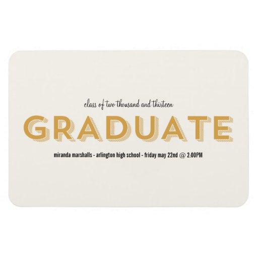 Imán elegante amarillo de la graduación