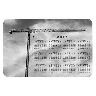 Imán elegante del calendario de la grúa de