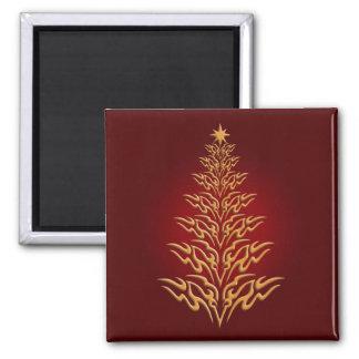 Imán elegante rojo del árbol de navidad