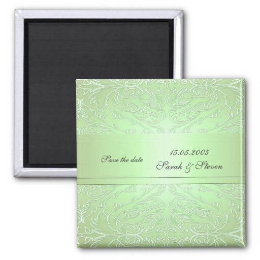 Imán elegante verde de lujo de la fecha del damasc