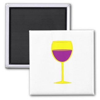 Imán elogioso del vino - amarillo y púrpura