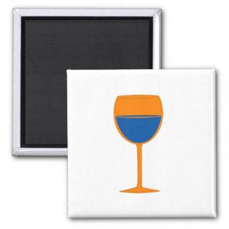 Imán elogioso del vino - azul anaranjado