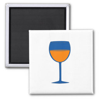 Imán elogioso del vino - naranja azul