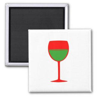 Imán elogioso del vino - verde rojo