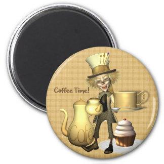 Imán enojado del refrigerador del tiempo del café