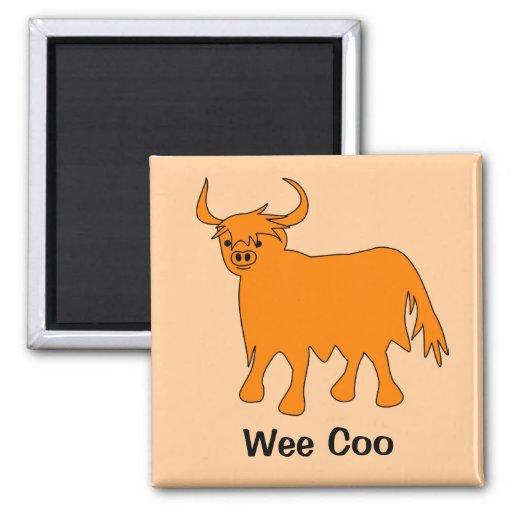 Imán escocés del refrigerador de la vaca de la mon
