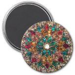 """Imán """"estrella del mosaico del vitral del otoño """""""