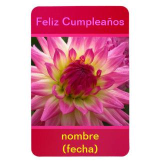 Imán Feliz Cumpleaños La Dalia Púrpura-Amarilla Rectangular Photo Magnet