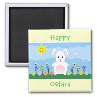 Imán feliz del cuadrado del conejo de conejito de
