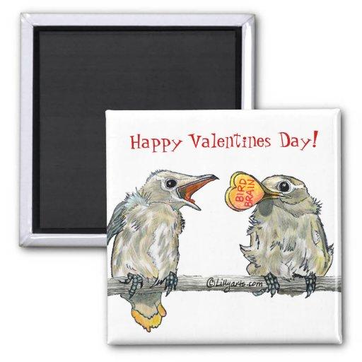Imán feliz del día de San Valentín de los pájaros