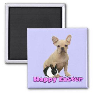 Imán feliz del dogo francés de Pascua