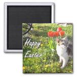 Imán feliz del gato de Pascua