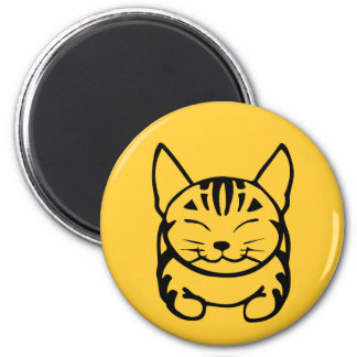 Imán feliz del gato (negro en amarillo)