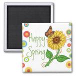 Imán feliz del girasol del ~ de la primavera