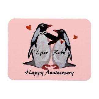 Imán feliz del premio del amor del pingüino del an