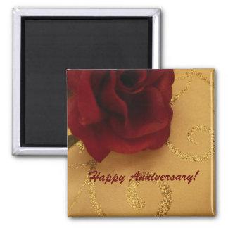 Imán feliz del rosa rojo del aniversario