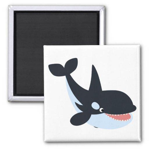 Imán feliz lindo de la orca del dibujo animado
