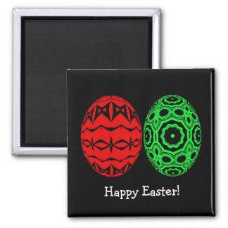 Imán feliz rojo y verde del huevo de Pascua