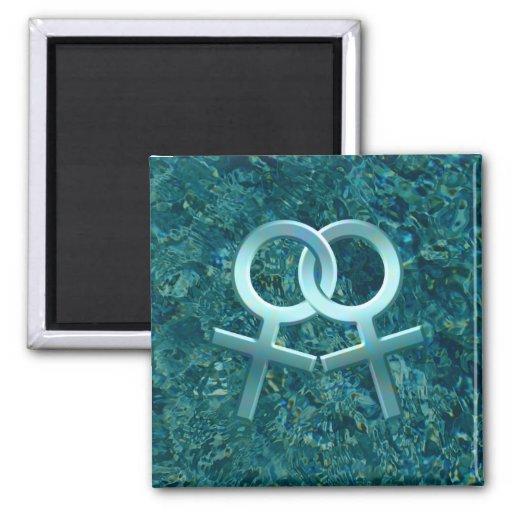 Imán femenino conectado 001 del diseño de los símb
