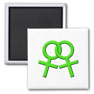 Imán femenino verde conectado 03 de los símbolos