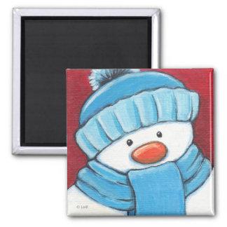 Imán festivo del refrigerador del muñeco de nieve