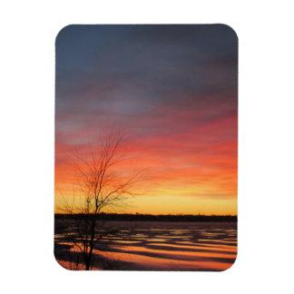 Imán flexible de la puesta del sol del lago ice
