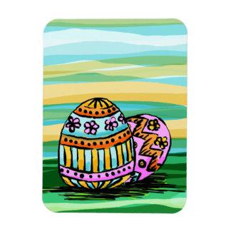 Imán flexible, huevos de Pascua pintados