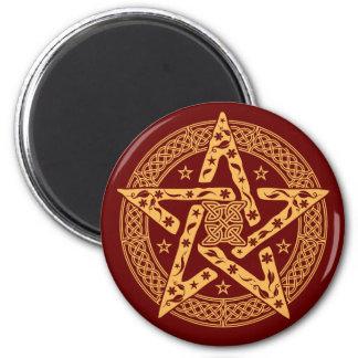 Imán floral céltico del refrigerador del Pentagram
