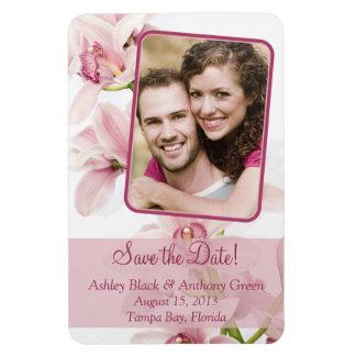 Imán floral de la foto del boda de la orquídea ros