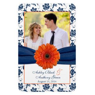 Imán floral de la foto del boda de los azules mari