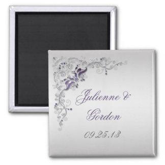 Imán floral de plata púrpura adornado del favor de