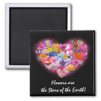Imán floral del diseño del corazón