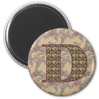 Imán floral elegante inicial del monograma D