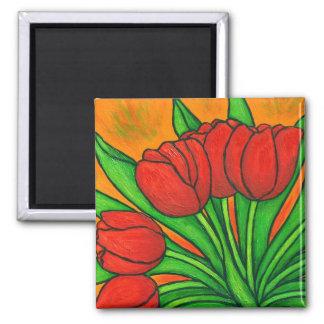 Imán floral enrrollado del tulipán