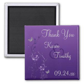 Imán floral gris púrpura del favor del boda de la