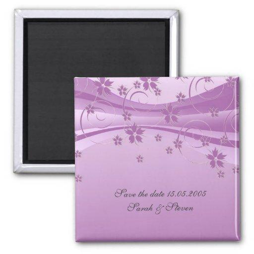 Imán floral púrpura de la fecha de la reserva del
