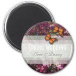 Imán floral rosado del boda de la primavera