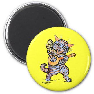 Imán:  Gato de Louis Wain Imán Redondo 5 Cm