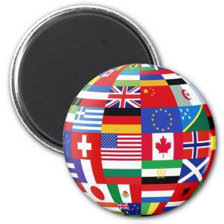 Imán global del refrigerador de las banderas