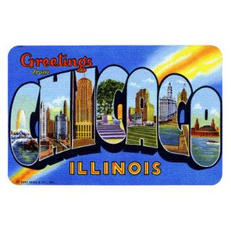 Imán grande de la postal de la letra de Chicago Il